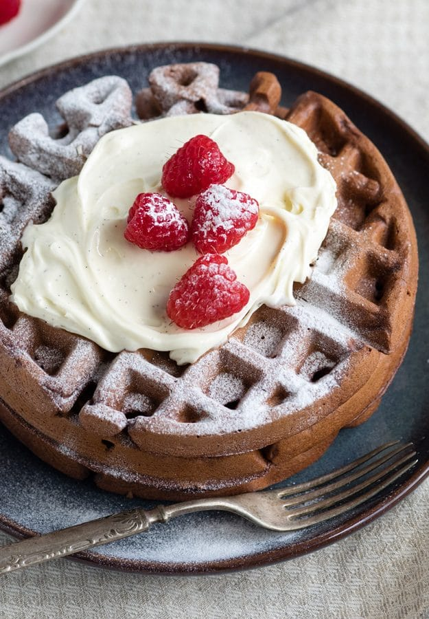 Dark Chocolate Waffles with Mascarpone Whip