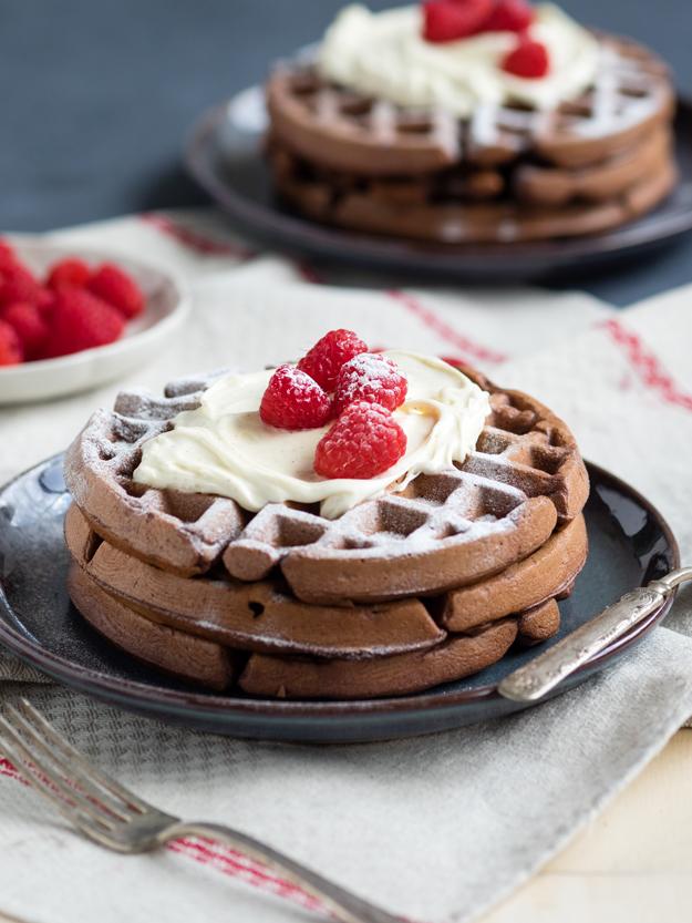 Dark Chocolate Waffles with Mascarpone Whip | The Worktop