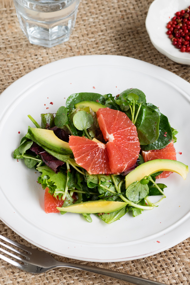 Grapefruit Salad with Honey Dressing and Pink Peppercorns