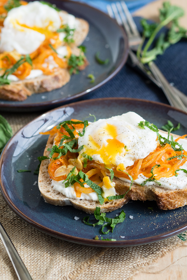 Harissa Onion and Poached Egg on Toast