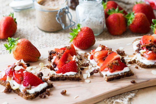 Strawberries and Granola Open Faced Sandwich | The Worktop