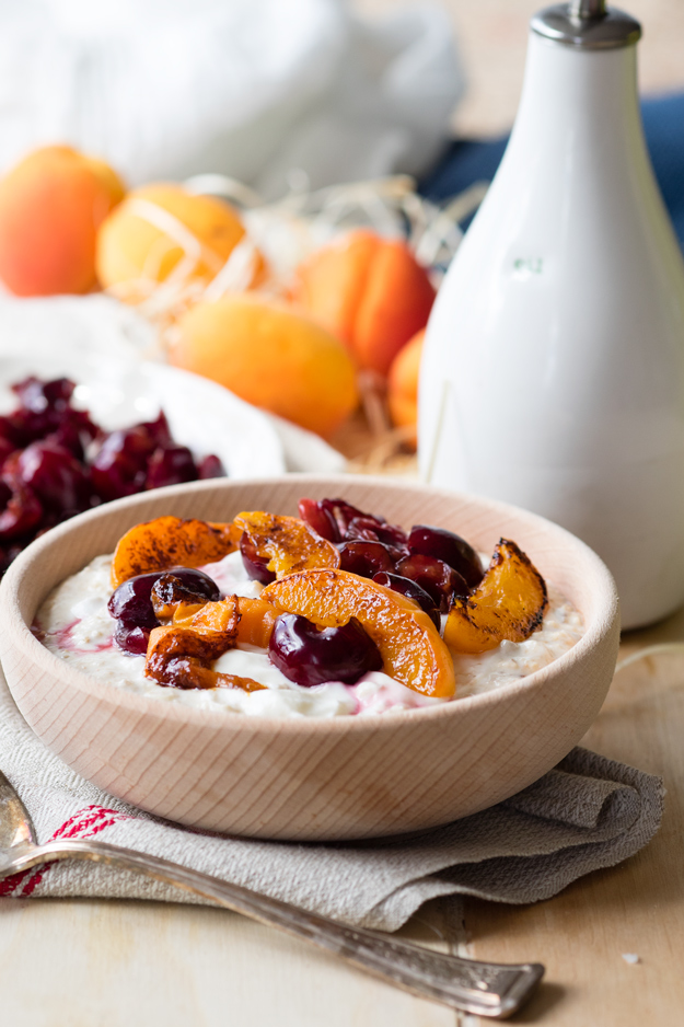 Smashed Cherries and Grilled Apricots on Bircher Muesli