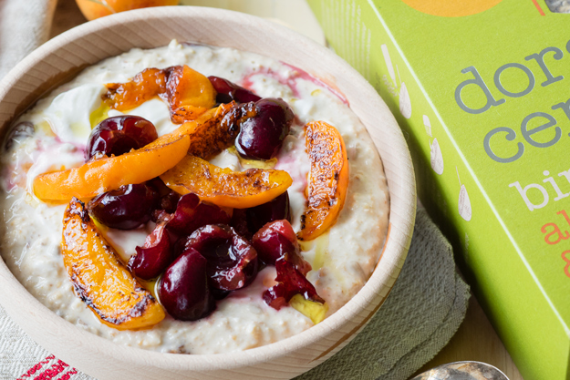 Smashed Cherries and Olive Oil Apricots on Bircher Muesli | The Worktop