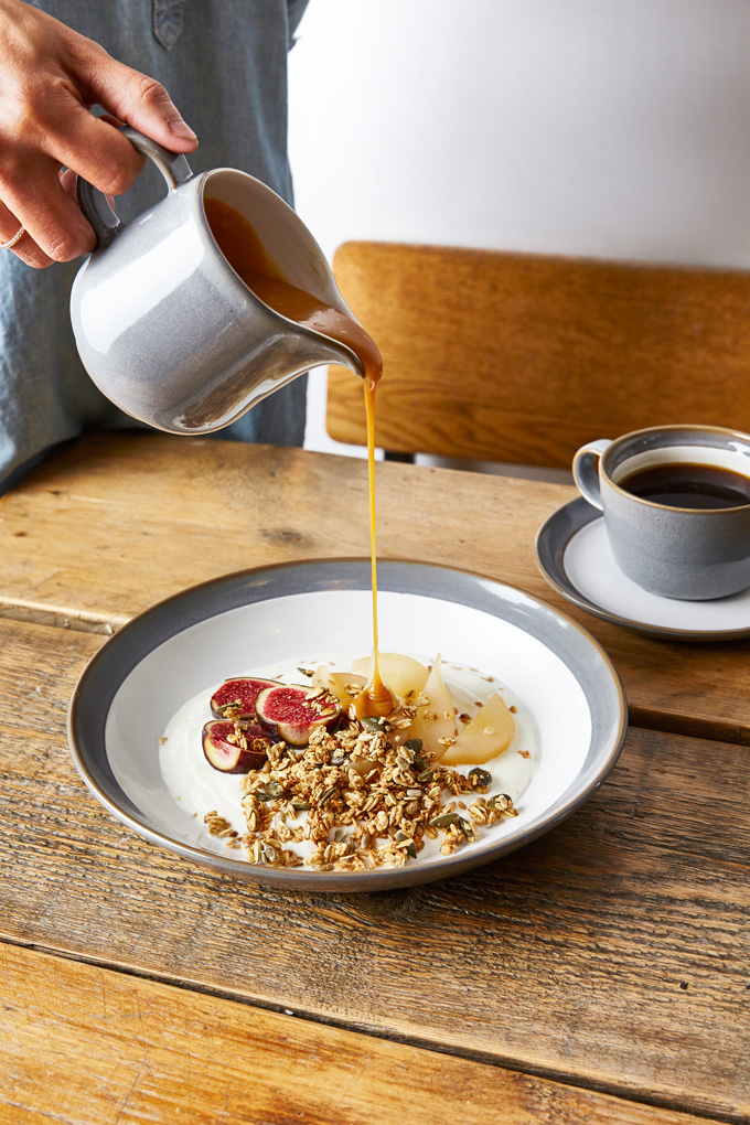 Yogurt Breakfast Bowl with Poached Pears, Figs, Granola and Salted Caramel Sauce | The Worktop