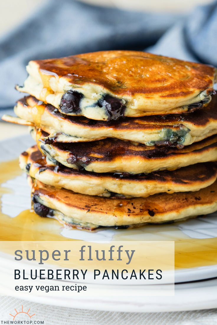 Blueberry Vegan Pancakes that are very fluffy | The Worktop