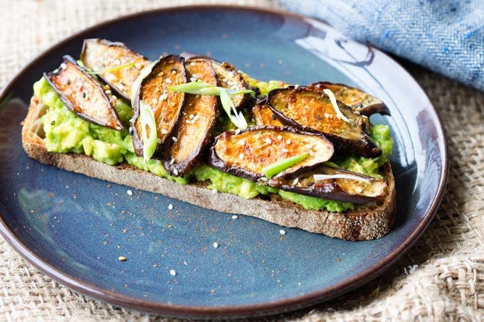 Maple and Miso Eggplant on Avocado Toast | The Worktop