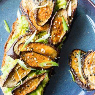 Maple and Miso Eggplant on Avocado Toast   The Worktop