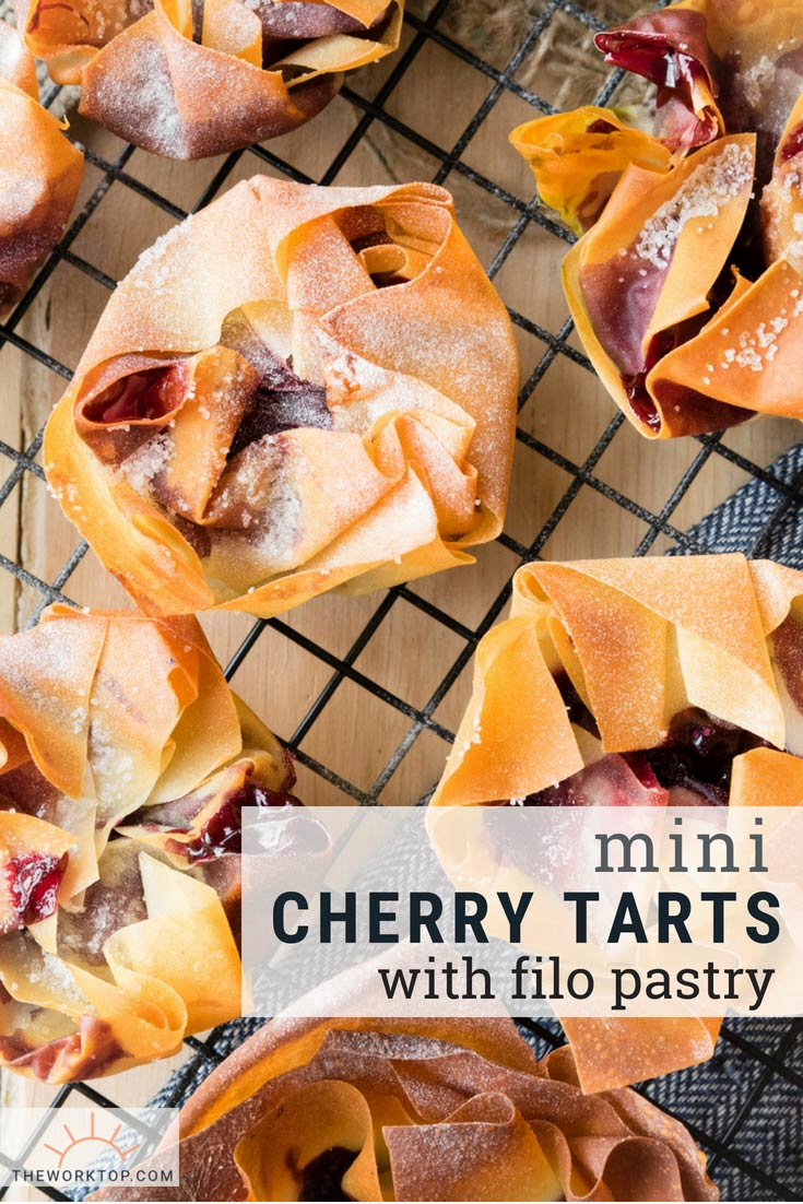Mini Cherry Tarts with Filo Pastry | The Worktop