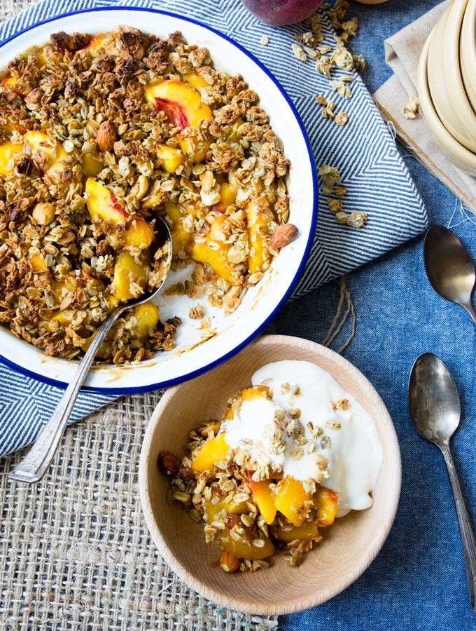 Healthy Peach Crisp with Granola (Vegan, GF, Dairy Free)