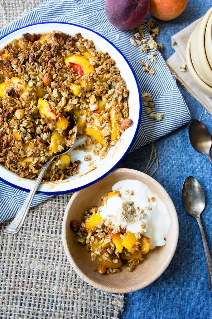 Healthy Peach Crisp with Granola | The Worktop - a family favorite for breakfast
