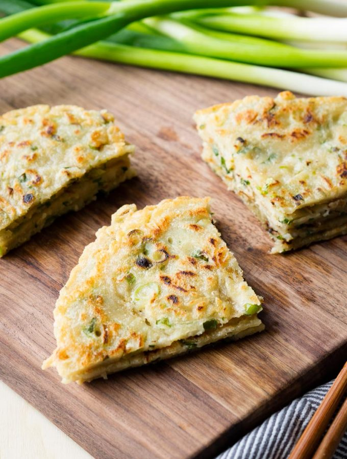Quick Chinese Scallion Pancakes (No Kneading)