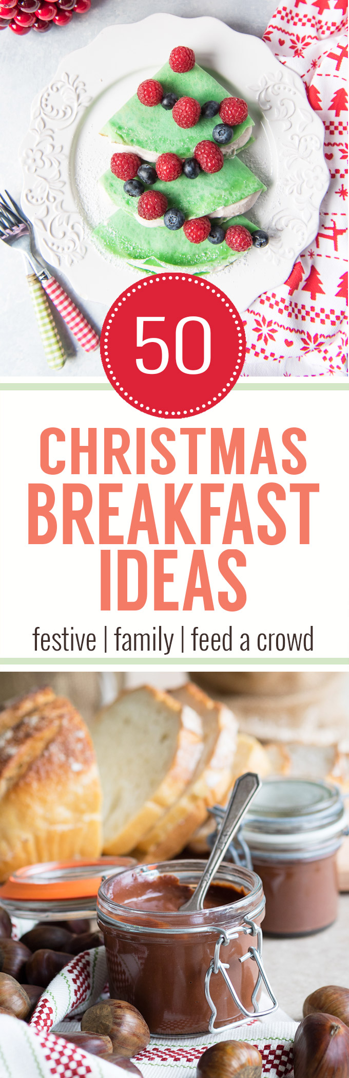 50+ Christmas Breakfast Ideas - festive, family friendly, feed a crowd, casseroles, and many more recipes for Christmas Morning. From www.theworktop.com.