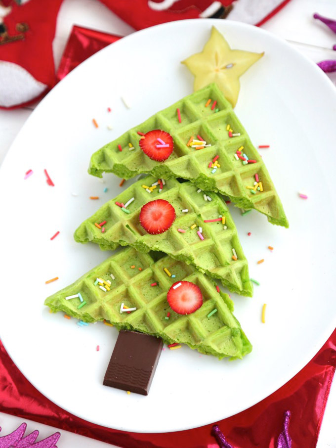 Christmas Tree Waffles for Breakfast