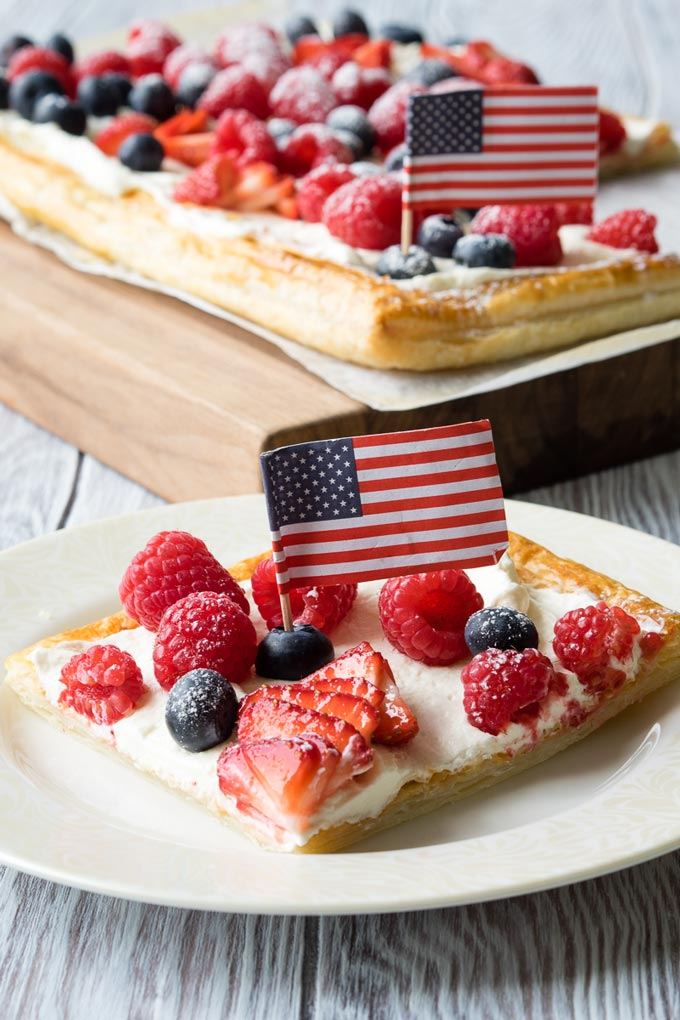 July Fourth Breakfast Idea - Red, White, and Blue Puff Pastry Tart | The Worktop