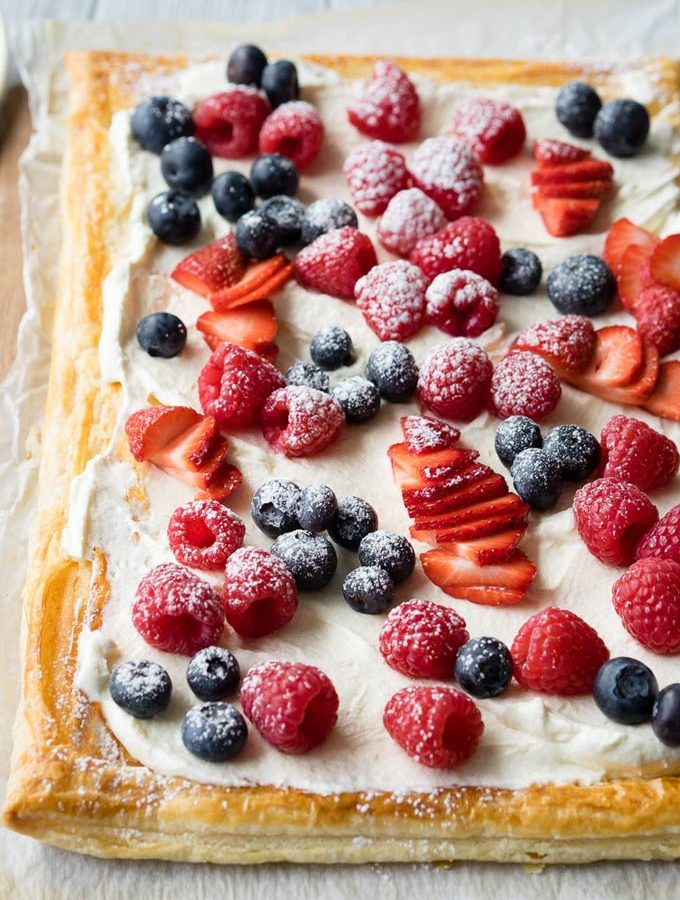 Red, White and Blue Breakfast – Puff Pastry Breakfast Tart with Whipped Greek Yogurt and Berries