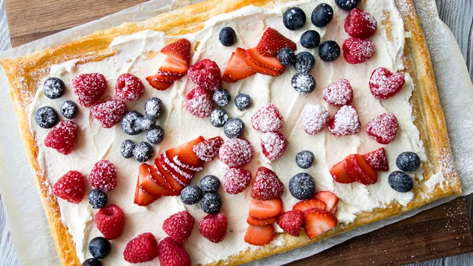 Red White Blue Breakfast Puff Pastry Tart Recipe | The Worktop