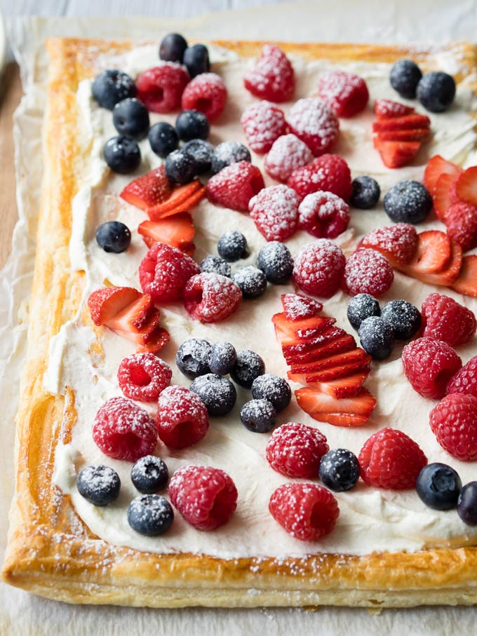 Red, White and Blue Breakfast Puff Pastry Tart