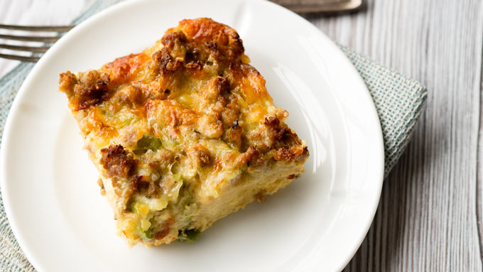 Sausage Breakfast Casserole with Egg and Croutons | The Worktop