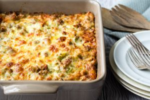 Sausage, Egg and Cheese Breakfast Casserole - Overnight Recipe | The Worktop