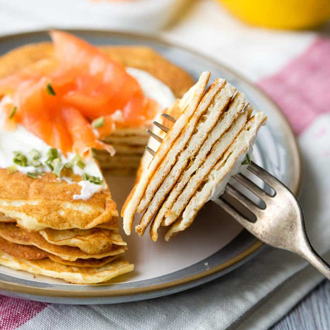 Stack of Cream Cheese Keto Pancakes | The Worktop