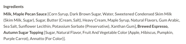 Maple Pecan Latte Ingredients Screenshot