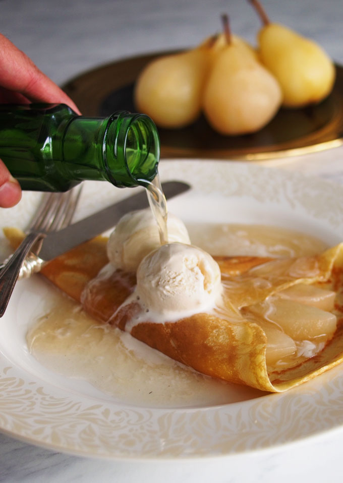 Crepes with Champagne Poached Pears for New Years Brunch | The Worktop
