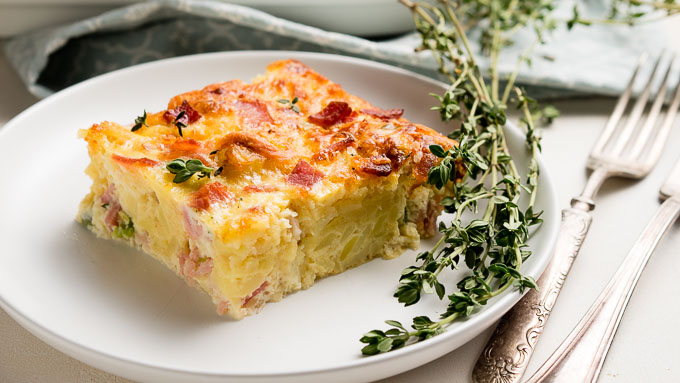 Ham and Cheese Breakfast Casserole with Tater Tots - Sliced | The Worktop