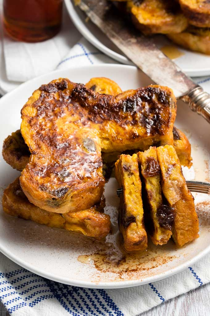 Cinnamon Raisin French Toast Recipe - stacked of French toast | The Worktop