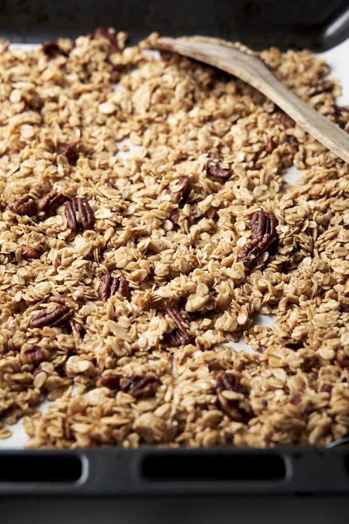 Honey Granola Homemade Recipe - on baking tray | The Worktop