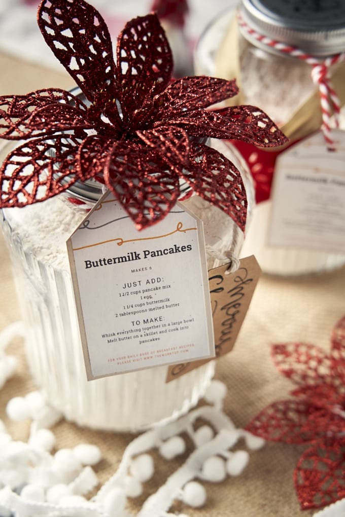 Homemade Pancake Mix - with bow for Christmas gift | The Worktop