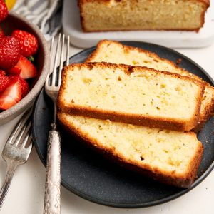 Lemon Sour Cream Pound Cake - Recipe close up of cake slice | The Worktop