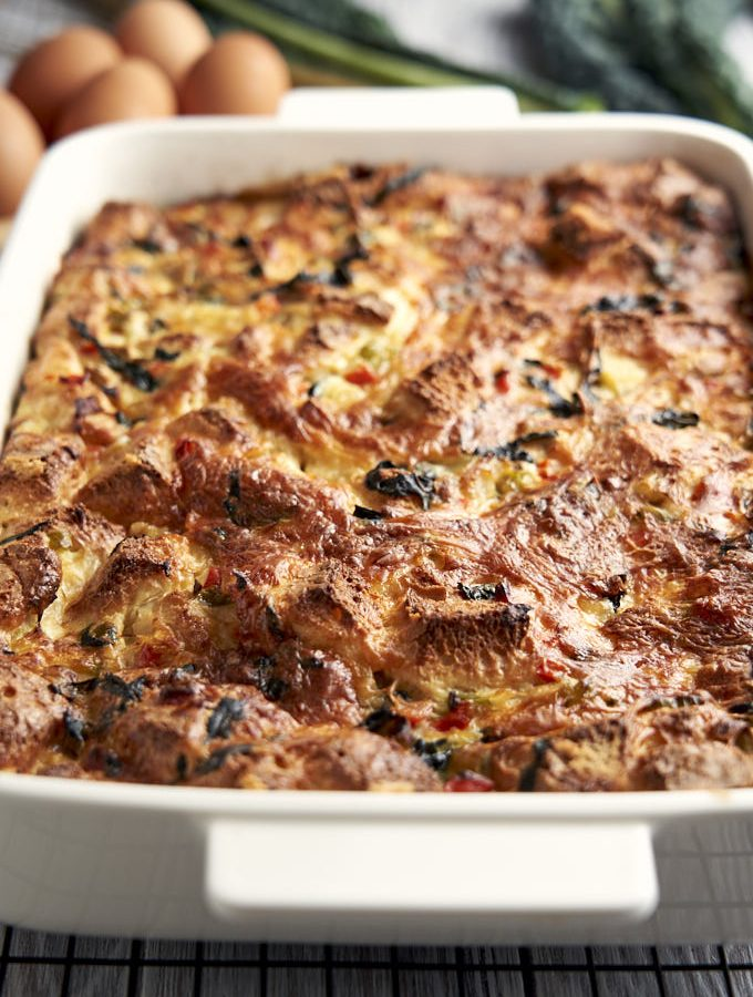 Meatless Breakfast Casserole - in baking pan | The Worktop