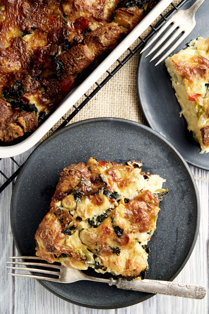 Meatless Breakfast Casserole - Overnight breakfast recipe plated | The Worktop