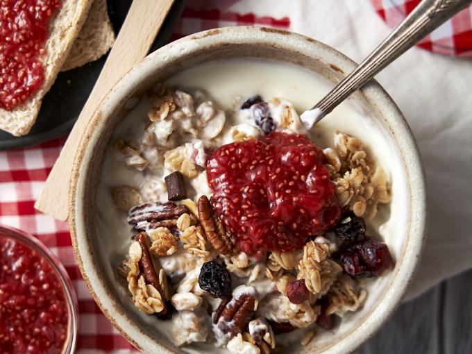 Strawberry Chia Jam Recipe - served on yogurt | The Worktop