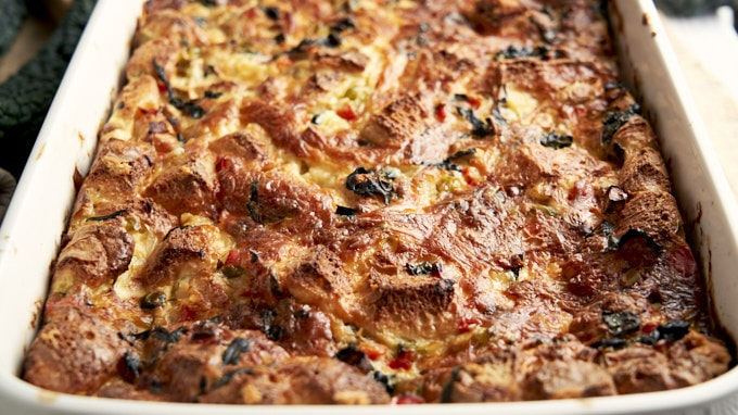 Vegetarian Breakfast Casserole - in 9x13 baking pan | The Worktop