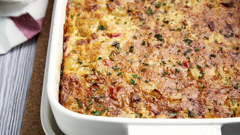 Breakfast Potato Casserole with Egg - in baking pan to show cheesy top | The Worktop