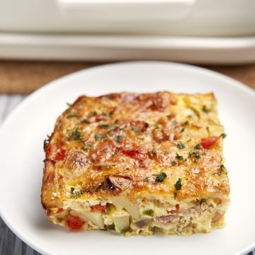 Breakfast Potato Casserole - Gluten Free - Sliced to show potatoes, eggs, peppers | The Worktop