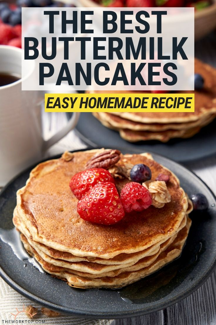 Buttermilk Pancakes - Easy homemade pancakes - with text | The Worktop