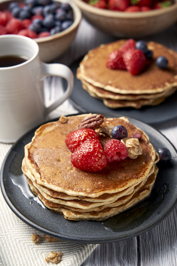 Buttermilk Pancakes From Scratch - Easy Recipe - Two plates of pancake stacks | The Worktop