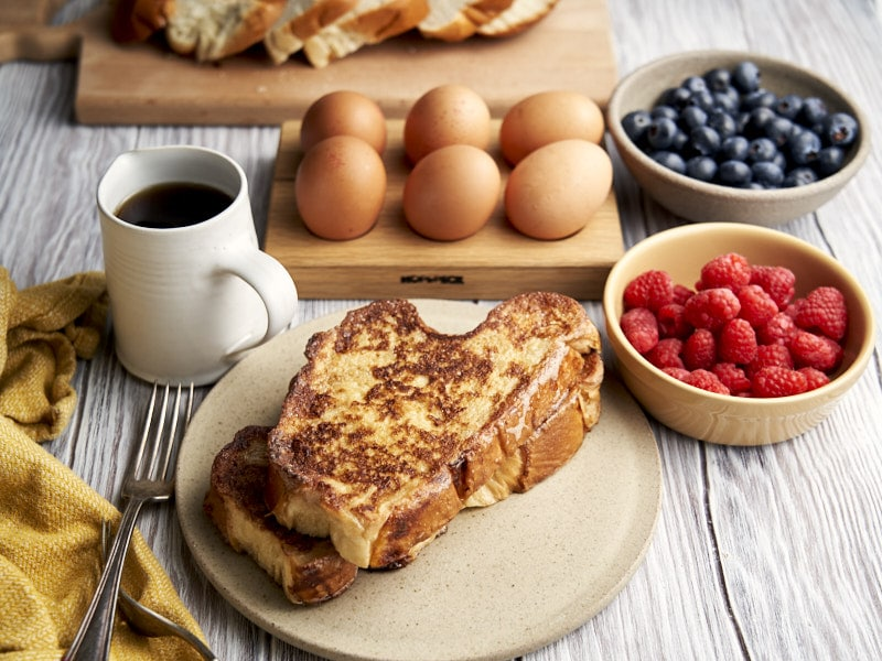 Challah French Toast - plated for breakfast with toppings on the side | The Worktop