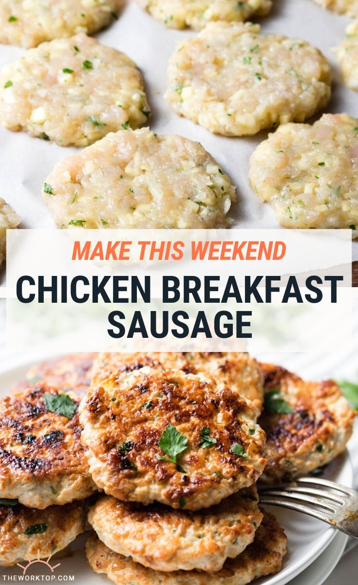 Homemade Chicken Breakfast Sausage - collage photo with text overlay | The Worktop
