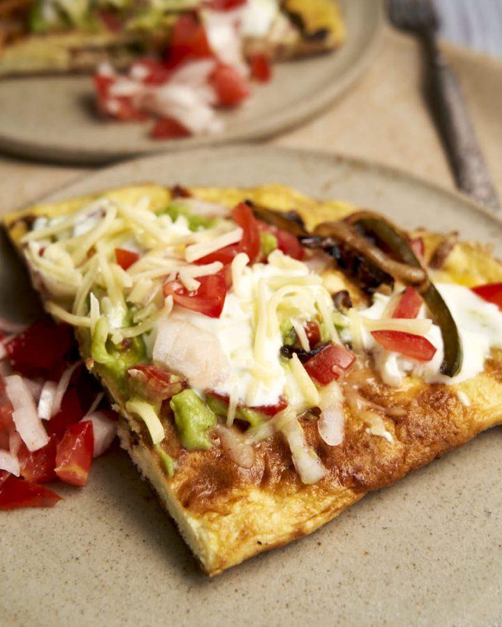 Chicken Fajita Omelette - served for breakfast with toppings | The Worktop