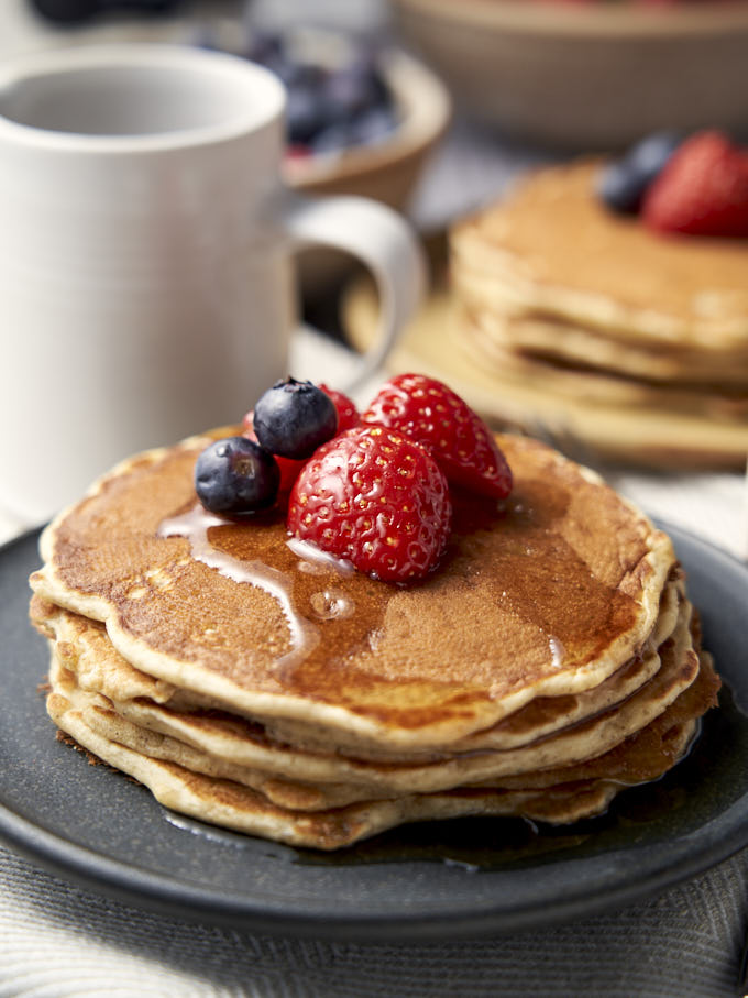 Easy Pancakes from Scratch - stack of homemade buttermilk pancakes | The Worktop