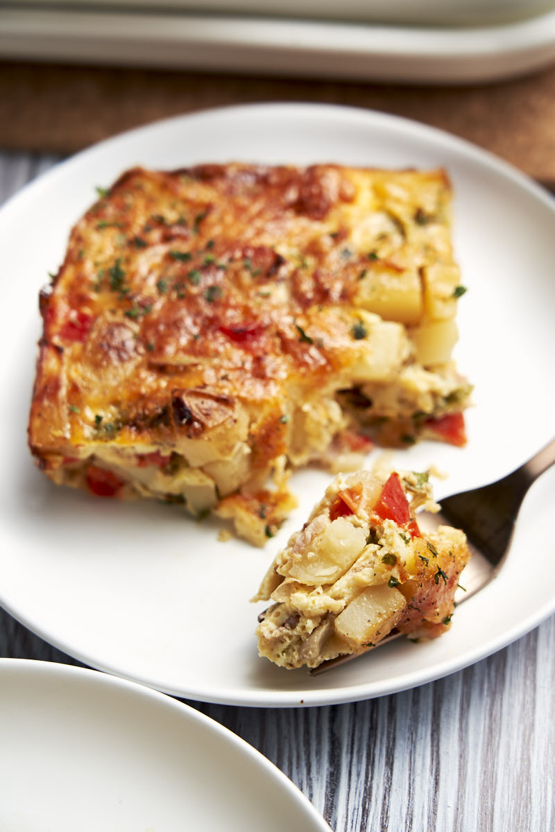 Egg Potato Casserole - Served for breakfast on plate | The Worktop