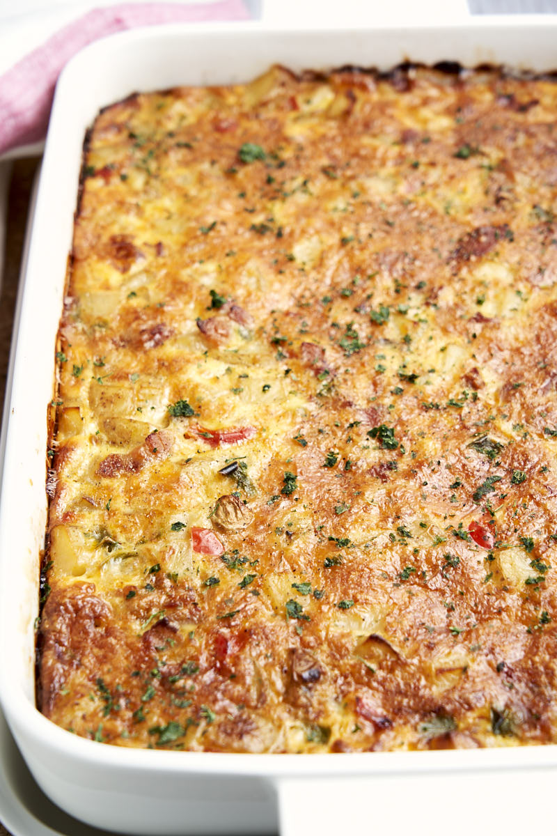 Gluten Free Breakfast Casserole with Eggs and Potatoes - in 9x13 baking dish | The Worktop