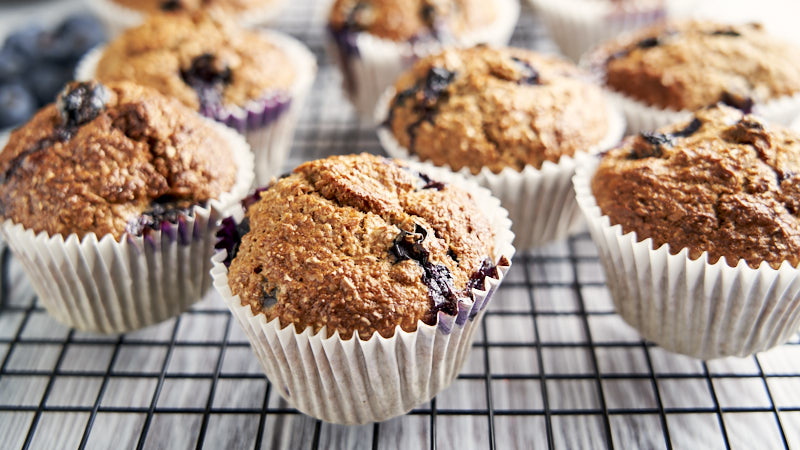 Low Fat Banana Blueberry Muffins on cooling rack | The Worktop