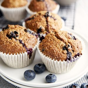 Low Fat Banana Muffins Recipe - close up to show blueberries | The Worktop
