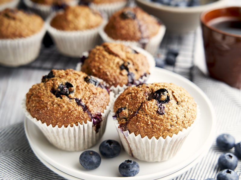 Low Fat Banana Muffins with Blueberries - plated for a grab and go breakfast | The Worktop