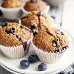 Low Fat Muffin Recipe with Banana and Blueberries - plated for breakfast | The Worktop