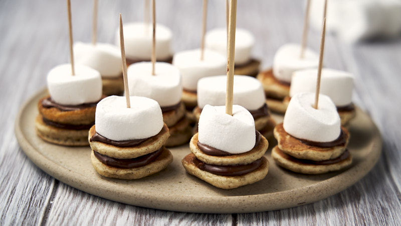 Mini Nutella S'mores Pancakes - on platter to be served for brunch party   The Worktop